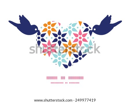 Vector abstract colorful stars birds holding heart silhouette frame pattern invitation greeting card template - stock vector