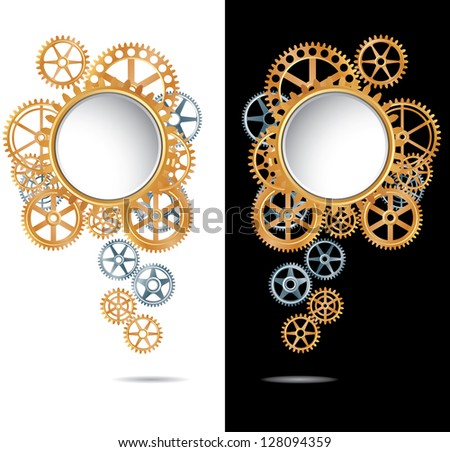 vector abstract composition with silver and golden gears on white and black backgrounds - stock vector