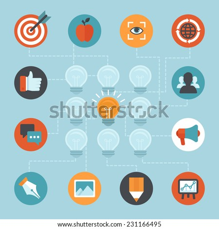 Vector abstract concept in flat style - branding strategy and marketing - stock vector