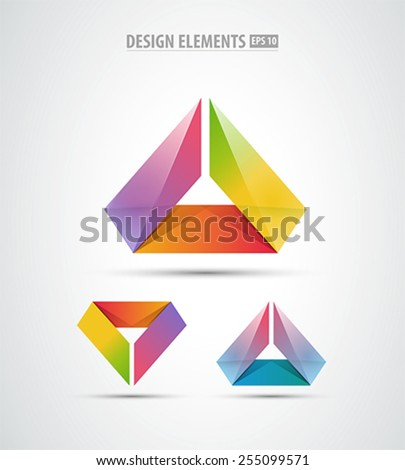 Vector abstract corporate icon design set. Isolated on white. Logo elements - stock vector