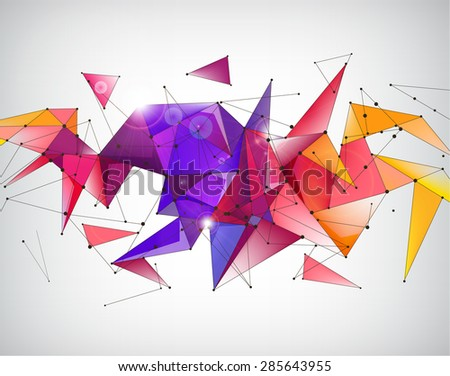 vector abstract crystal 3d faceted geometric origami rainbow background, futuristic banner - stock vector