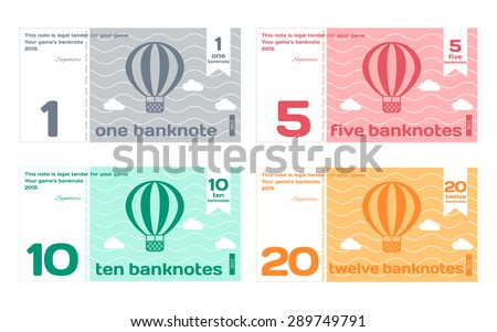 Vector Abstract Cute Color Banknote Templates Set 1 in Flat Style Isolated on White Background - stock vector