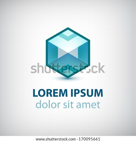 vector abstract 3d cube construction logo isolated - stock vector