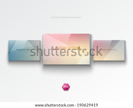 Vector abstract 3d design layout. Three stylish banners. Picture gallery style panels. Can be used for web design or infographics. Trendy geometric background. - stock vector
