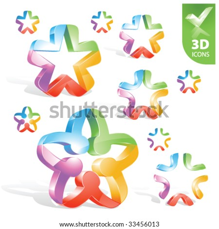 Vector abstract 3D icons 1 - stock vector
