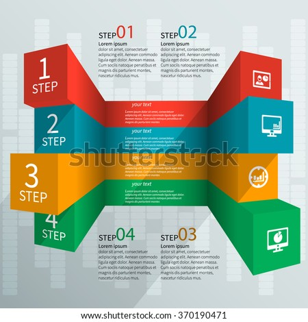 vector abstract 3d paper infographic elements - stock vector
