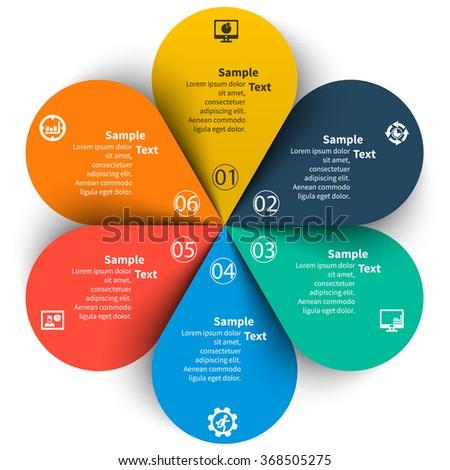 vector abstract 3d paper infographic elements.Circular infographics.6 steps.Petals - stock vector