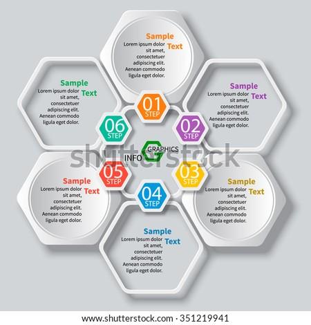 vector abstract 3d paper infographic elements.Hexagon infographics - stock vector
