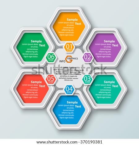 vector abstract 3d paper infographic elements.Hexagon infographics.Honeycomb design - stock vector