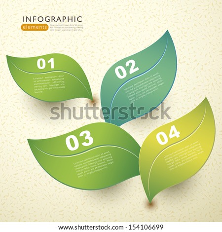 vector abstract 3d paper leaf infographic elements - stock vector
