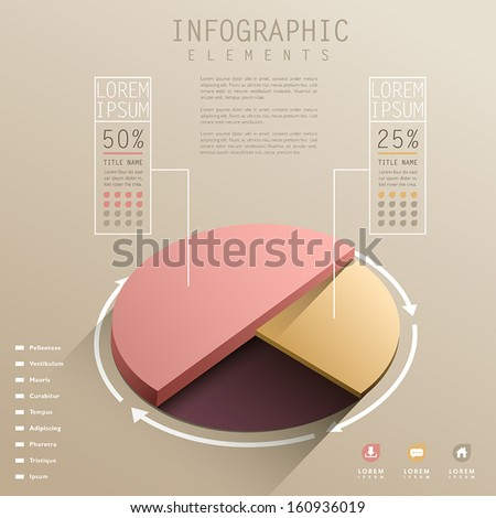 vector abstract 3d pie chart  infographic elements - stock vector