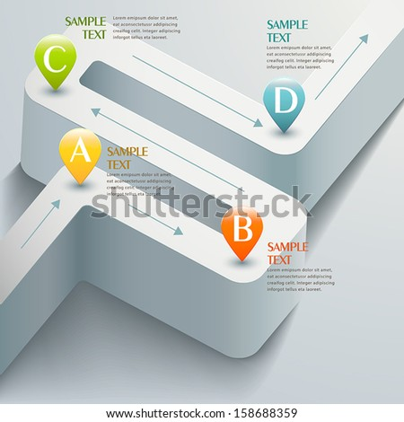 vector abstract 3d road infographic elements - stock vector