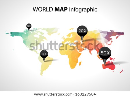 Vector abstract 3d world map pins vectores en stock 160229504 vector abstract 3d world map pins australia asia africa usa globe world gumiabroncs Image collections