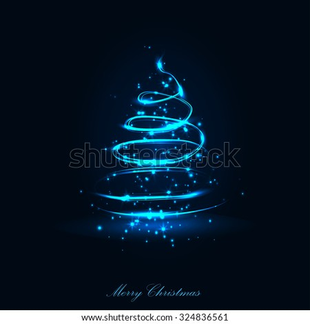 Vector abstract dark background. Blurry smooth glowing waves. Christmas tree - stock vector
