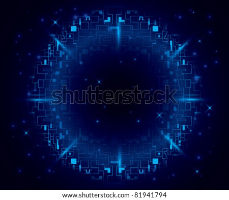 vector abstract dark blue background with round element