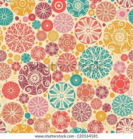 Vector abstract decorative circles seamless pattern background with many hand drawn ornamental oval shapes - stock vector