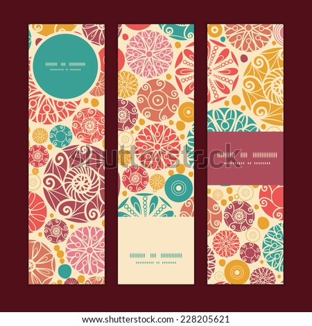 Vector abstract decorative circles vertical banners set pattern background - stock vector