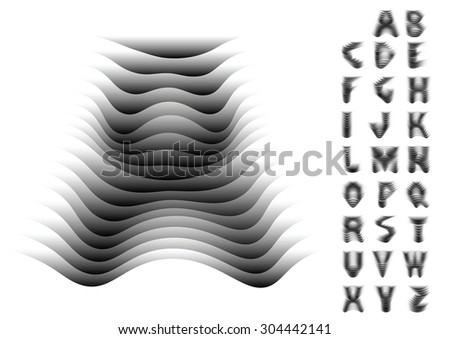 Vector abstract decorative font with three-dimensional effect of waves gradually emerging from background. Alphabet includes all latin letters