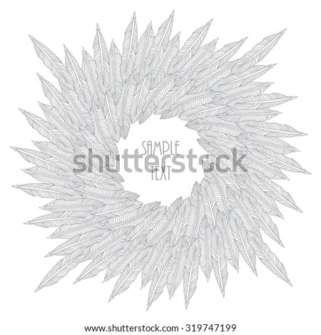 Vector abstract decorative round frame from stylized silver grey contoured light bird feathers silhouette on a white background. Coloring Book illustration. Invitation and greeting card template - stock vector