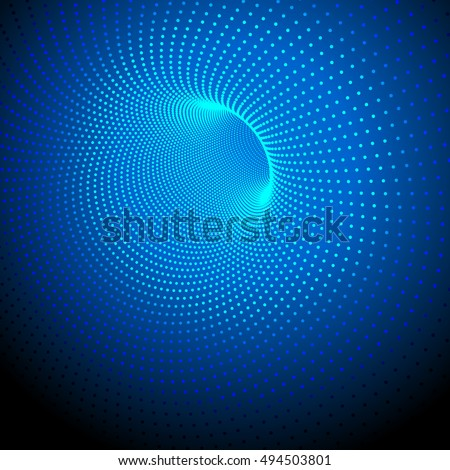 Vector abstract digital technology background. 3D tunnel from a grid of points