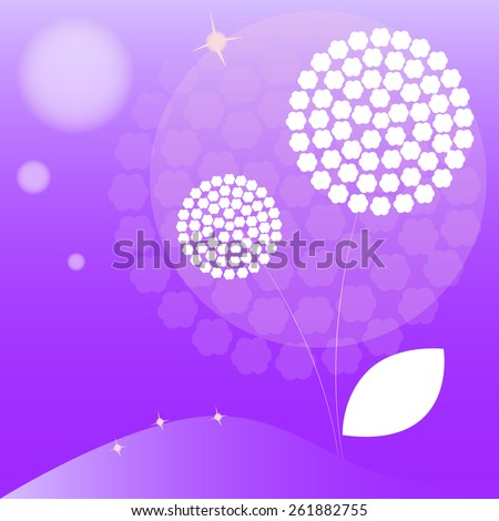 Vector abstract doodle dandelion with purple background. - stock vector