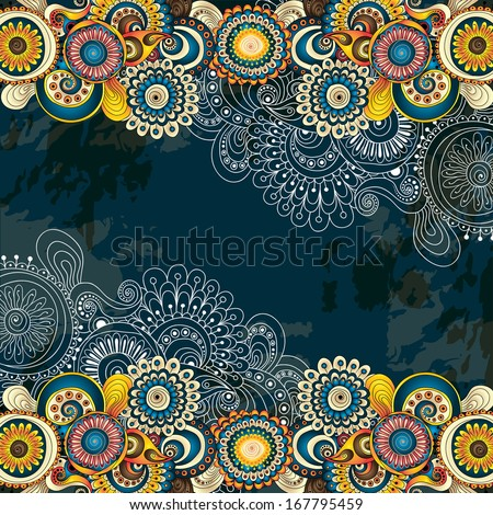 Vector abstract doodle floral vector background. Template design for card with place for your text. - stock vector