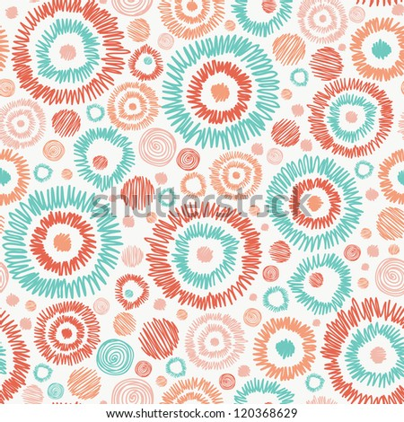 Vector abstract Doodle textured circles seamless pattern background with many hand drawn ornamental oval shapes - stock vector