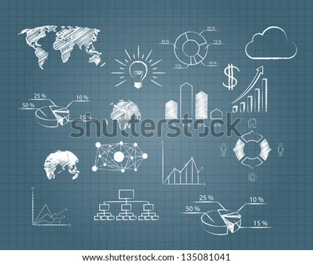 vector abstract drawing plan strategy success on grid paper - stock vector
