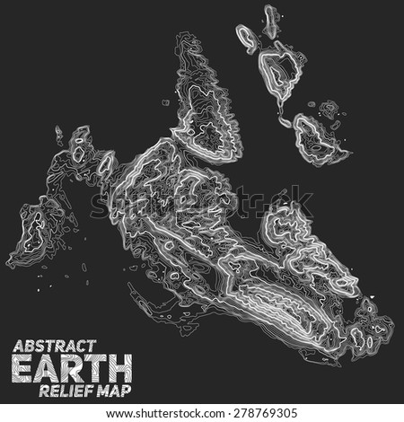 Vector abstract earth relief map. Generated conceptual elevation map. Elegant background for presentations. - stock vector