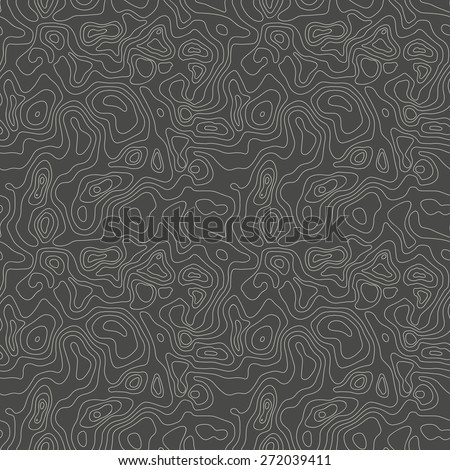 Vector abstract earth relief map seamless pattern background. Generated conceptual elevation map.  - stock vector