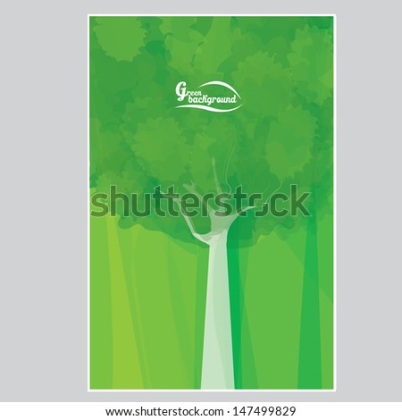 vector abstract eco green background with green tree and green grass. vector forest illustration. - stock vector
