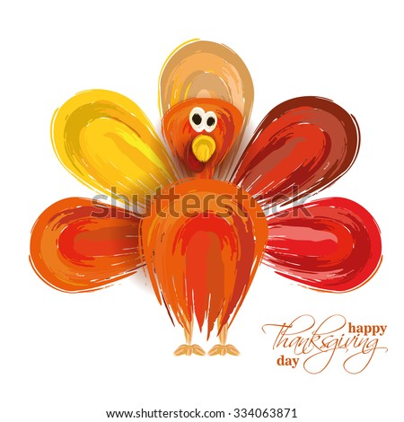 vector abstract elements on autumn holiday Thanksgiving, turkey, turkey yellow leaves,  graphic design illustration on the feast day of Thanksgiving, in the style of a watercolor painting hand-drawn - stock vector