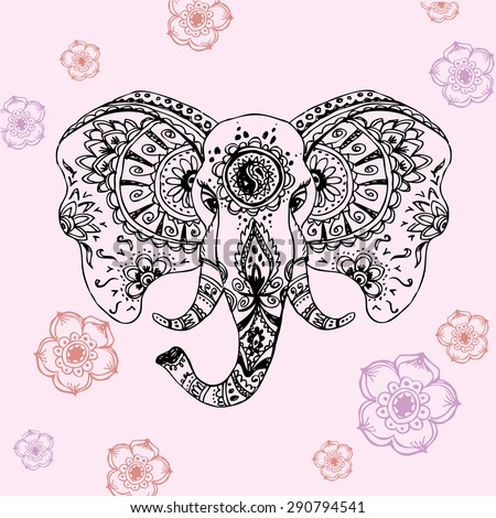 Vector abstract elephant in Indian style mehndi.Vector hand drawing - stock vector