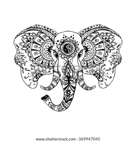 Vector abstract elephant in Indian style mehndi.Vector hand drawing  isolated on white background - stock vector