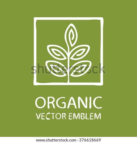 Vector abstract emblem,concept for organic shop or yoga studio, logo design template, organic food,arming, green, vegan food concept,organic logo,Eco emblem,Eco logo,bio logo,organic logo,Eco bio logo - stock vector