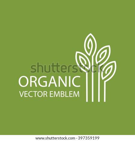 Vector abstract emblem,outline monogram, flower symbol, concept for organic shop or yoga studio, logo design template, linear logo design template, organic food and farming, green, vegan food concept - stock vector