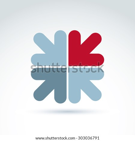 Vector abstract emblem with multidirectional arrows â?? up, down, left, right, direction sign. Conceptual corporate symbol. - stock vector