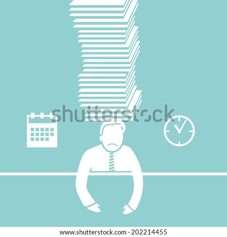 vector abstract flat design businessman icon under pressure because of deadline white pictogram separated on green background - stock vector