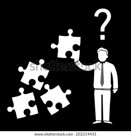 vector abstract flat design confused businessman icon with puzzle in his hand and question mark above | white pictogram separated on black background