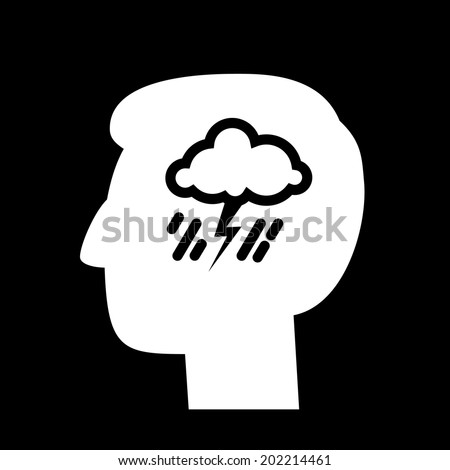 vector abstract flat design depression icon head with storm and rain inside brain | white pictogram separated on black background - stock vector