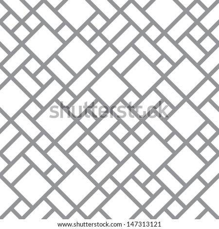 Vector abstract floor geometric blocks background - seamless halftone back and white diagonal primitive pattern - stock vector