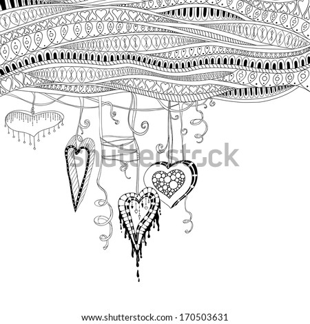 Vector abstract floral decorative background. Template frame design for card with place for your text. - stock vector