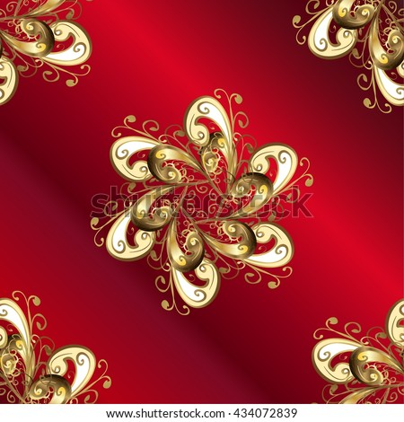 vector abstract floral pattern on red gradient