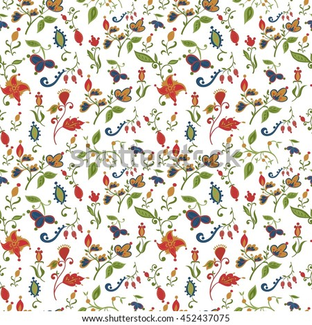 Vector abstract floral seamless pattern in red blue and green colors. All objects are conveniently grouped and are easily editable. - stock vector