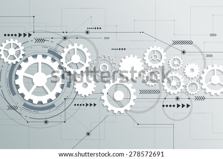 Vector abstract futuristic, 3d white paper gear wheel on circuit board. Illustration hi-tech, engineering, digital telecoms, technology concept with light grey color background - stock vector