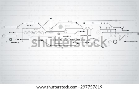Vector Abstract futuristic.Stripe line circuit board pattern with gear wheel and arrow symbol.Communication and engineering technology concept. Light gray color background with blank space for design  - stock vector