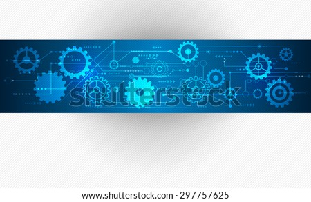 Vector Abstract futuristic, Stripe line printed circuit board pattern with gear wheel and arrow symbol on blue color background. Light gray color background with blank space for design  - stock vector