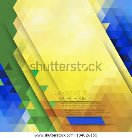 Vector abstract geometric background in Brazil color concept. Geometric color pattern with place for your text.Triangle decor,text separately from the background - stock vector