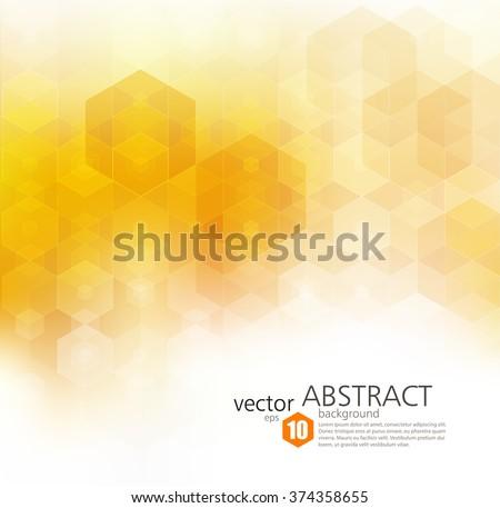 Vector Abstract geometric background. Template brochure design. Orange hexagon shape - stock vector