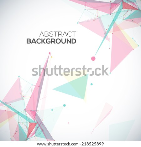 Vector abstract geometric background with polygonal abstract shapes, with circles, lines, triangles - stock vector